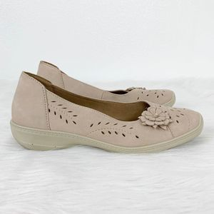 Hotter Comfort Concept Suede Flats Shoes Perforate
